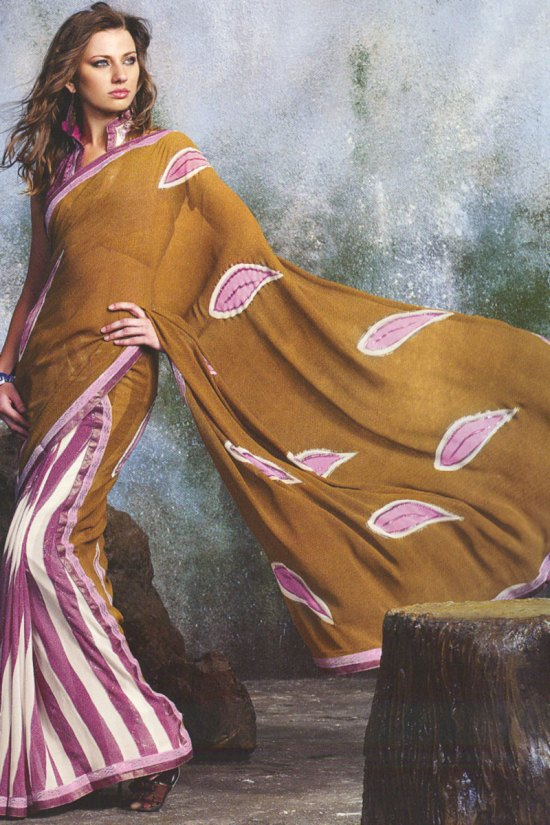 Rust Brown Designer Saree with Patch Work