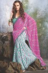 Pink and White Designer Saree with Green Saree Blouse