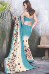 Two Tone Designer Printed Saree in Cream and Blue Color