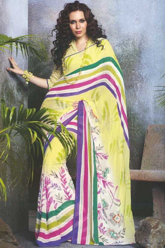 Casual Wear Printed Saree in Yellow Color