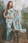 Floral Printed Saree in Sky Blue Color with Matching Blouse Piece