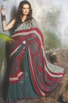 Latest Designer Saree in Maroon and Blue Color