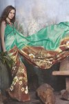 Exclusive Designer Printed Saree in Brown and Green Color