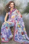 Newly Arrived Designer Printed Saree in Lavender Color