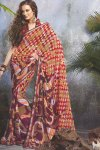 Latest Printed Saree in Purple and Red Color with a Matching Blouse