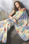 Faux Georgette Printed Festival Wear Sarees 2010