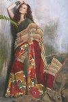 Brown and Red Floral Designer Printed Sarees