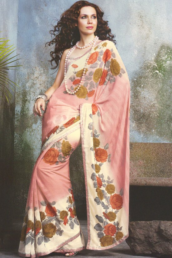 Light Pink and Cream Color Designer Printed sarees