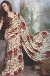 Newly Arrived Wheat Color Printed Designer Sarees