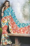 Designer Saree in Salmon and Orange Color for Party wear