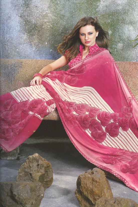 Dark Pink Designer Sari for Festival Wear