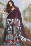 Designer Sari in Purple and Slate Gray Color