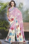 White and Pink Floral Printed Designer Saris 2010