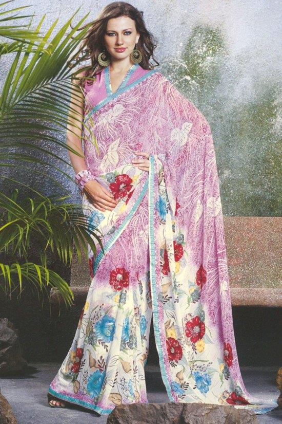 White and Pink Floral Printed Designer Saris 2010