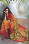Orange and Georgette Abstract Printed Designer Sari 2010