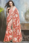 Printed Sari in Salmon Orange Color