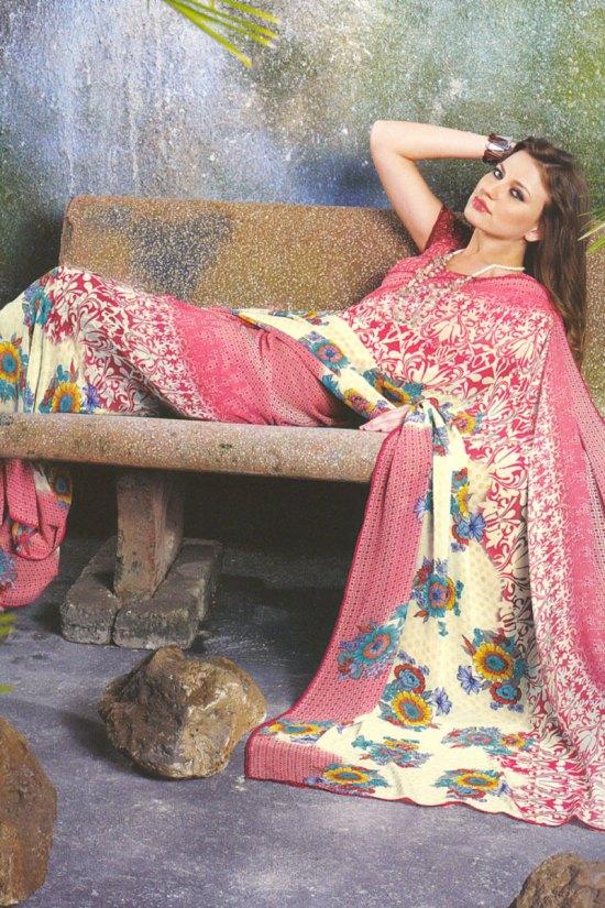 Designer Trendy Sari in Cerise Pink and Cream Color