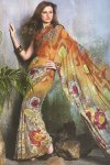 Gorgeous Floral Printed Saree in Copper Brown Color