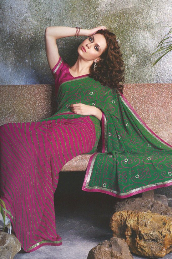 Two Tone Saree in Dark Pink and Fern Green Color with Blouse Piece