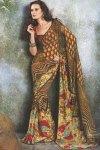 Yellow Designer Saree with V Neck Blouse Piece