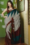 Newly Arrived Designer Printed Saree in Brown and White Color