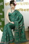 Latest Green Faux Georgette Printed Saree 2010