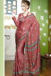 Newly Arrived Printed Saree with Full Sleeved Blouse Design