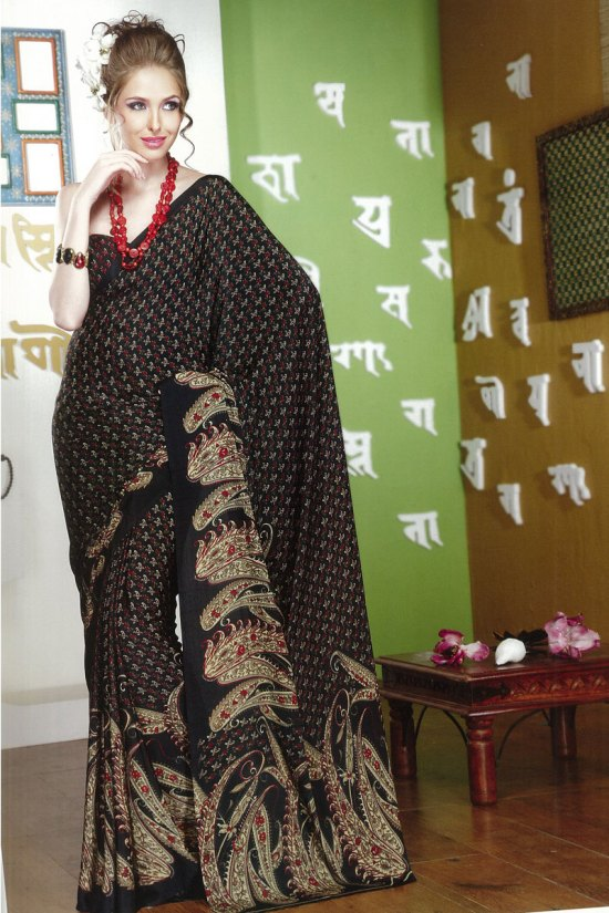 Black Faux Georgette Digital Printed Saree 2010