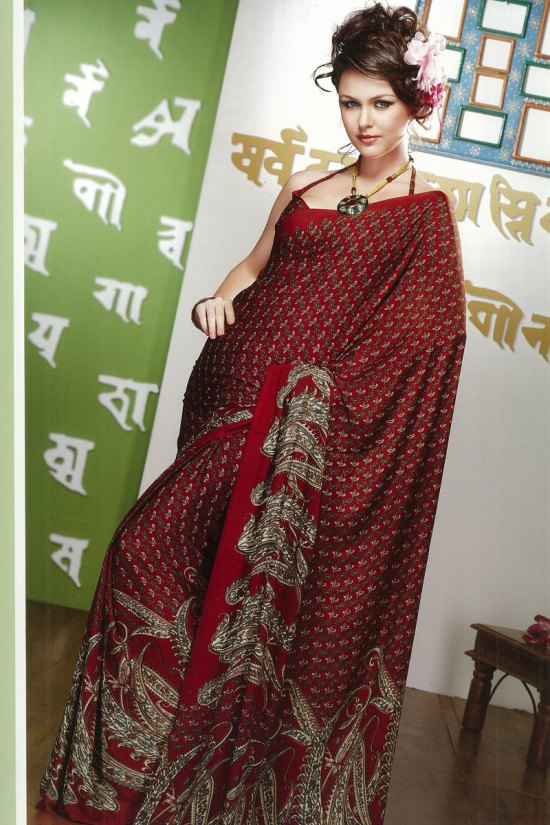 Printed Saree in Cerise Red Color 2010