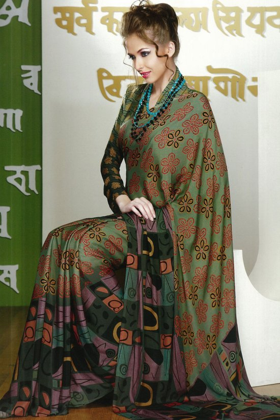Latest Green Faux Georgette Party Wear Printed Saree