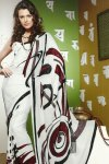 White Printed Saree for Casual and Party Wear