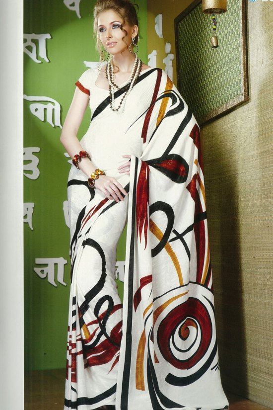 Beautiful White Printed Saree with Red Floral Prints