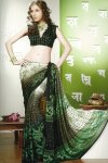 Pine Green Printed Saree for Party Wear