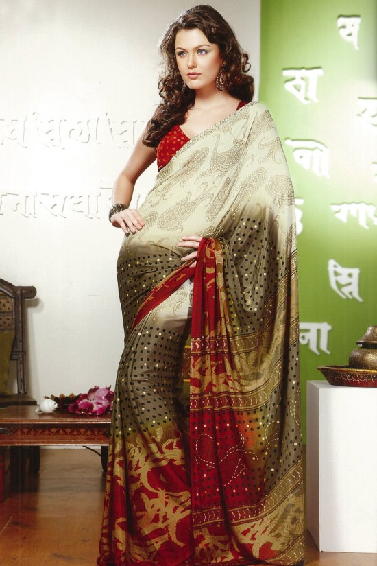 White Printed Saree with Green Pallu and Red Blouse