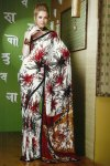 White Faux Georgette Saree with Red Floral Prints