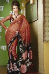 Brown and Black Printed Saree with Full Designer Blouse
