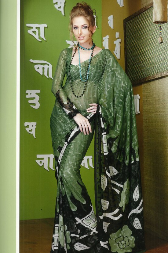 Green Printed Saree with Matching Full Saree Blouse