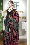 Newly Arrived Faux Georgette Saree with Black Saree Blouse