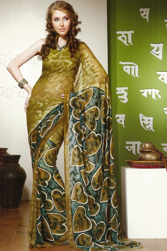 Latest Olive Green Party Wear Faux Georgette Saree
