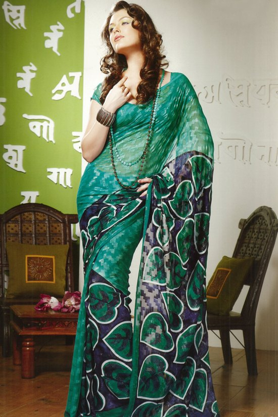 Newly Arrived Green Printed Saree for Casual Wear