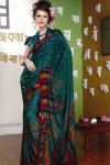 Designer Printed Saree in Teal Color