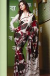 White and Red Printed Saree for Casual and Party Wear