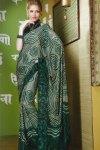 Printed Sari in Pine Green Color