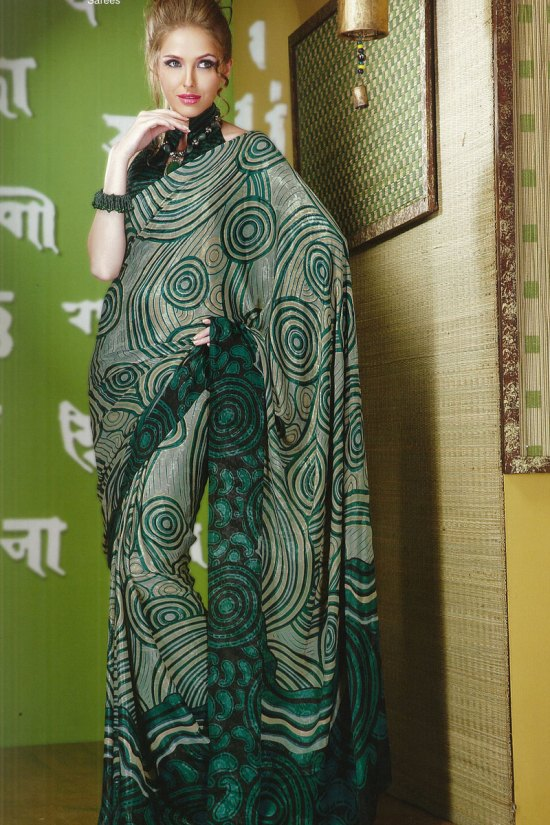 Printed Sari in Pine Green Color