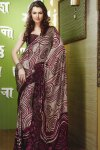 Violet Color Printed Sari for Festival Wear