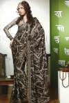 Black and Gray Printed Sari with Full Sleeve Matching Blouse
