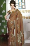 Brown Printed Saree for Party Wear and Casual Wear