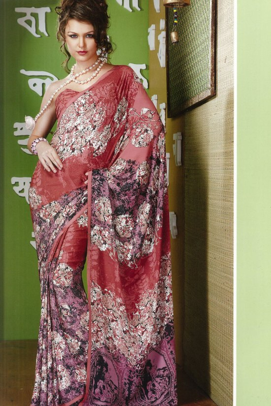 Latest Red Floral Printed Casual and Printed Wear Saree