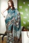 Blue Faux Georgette Printed Sari 2010