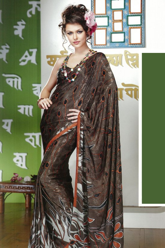 Newly Arrived Printed Sari in Brown Color